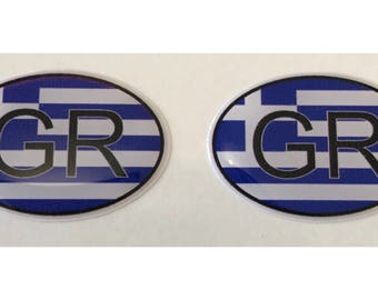 "Greece GR Domed Gel (2x) Stickers 0.8"" x 1.2"" for Laptop Tablet Book Fridge Guitar Motorcycle Helmet ToolBox Door PC Smartphone"
