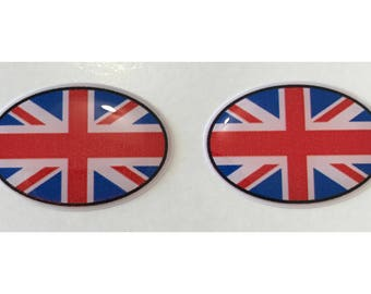 "Union Jack Domed Gel (2x) Stickers 0.8"" x 1.2"" for Laptop Tablet Book Fridge Guitar Motorcycle Helmet ToolBox Door PC Smartphone"