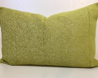 LUMBER Chartreuse apple green chenille cushion cover in Nina Campbell LOMBARDIA fabric. Bright zest yellow pillow cover by MoGirl DESIGNS