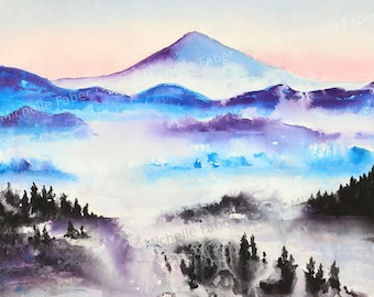 Print Misty Mountain Watercolor // art, nature, painting,travel,print,northwest,bohemian,boho,scenic,scenery,peaceful,blue,purple,trees,mist