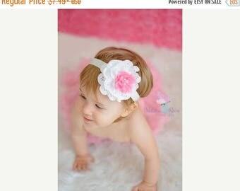 SALE Beautiful White Eyelet & Pink Chiffon Flower Rhinestone Pearl Center on Elastic Headband - Newborn Baby - Photo Prop - No Slip