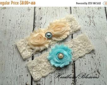 SALE Beautiful Bridal Garter Set - CREAM and AQUA Keepsake & Toss Wedding Garters - Chiffon Flower Rhinestone Garters - Garders - Something