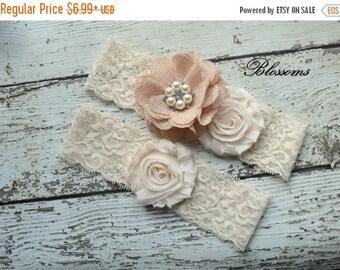 SALE Bridal Garter Set - Ivory Keepsake and Toss Wedding Garters - Chiffon Flower Rhinestone Garter - Vintage Lace Garter - Bridal Garders