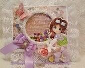 OOAK Shabby Chic Sherri Baldy My Bestie Easel Card with Shaker - Girly, Birthday, Gift, Lavendar