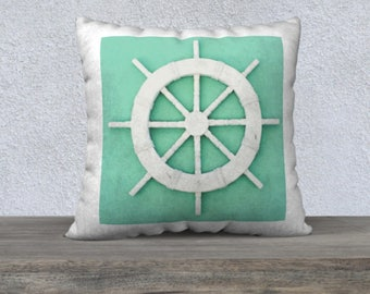 Nautical Pillows | Coastal Decor | Coastal Pillows | Seafoam Pillow Cover | Seafoam Green Decor | Ship Wheel Decor | Nautical Pillow Covers