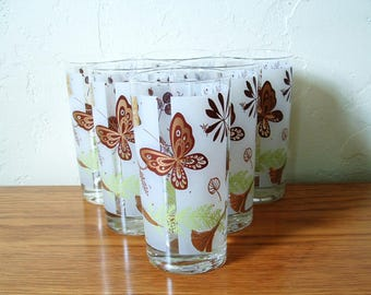 Vintage Butterfly Highball Glasses Set of 6 Gold Mid Century, Butterflies Frost Tumblers. Cocktail Glasses. Barware Leaves