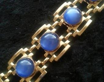 On Sale Vintage Blue Glass Stone Bracelet 1960's 1970's Chunky Wide Retro Rockabilly Hollywood Regency Mad Men Mod Jewelry