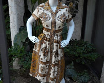 Vintage 1950's Blanes Gold & Cream Print Day Dress - Size 14