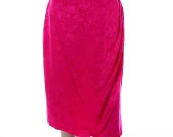 Vintage 80s Silk Studio Fuscia Pink Swirl Pencil Knee Length Skirt UK 10 US 8