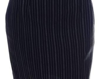 Vintage Black Pinstripe Back Split Knee Length Pencil Skirt UK 10 US 8