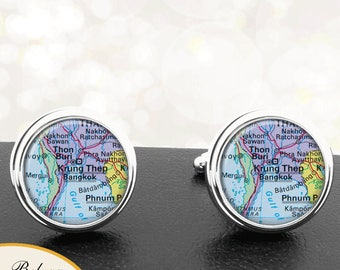 Map Cufflinks Bangkok Thailand Cuff Links for Groomsmen Groom Fiance Anniversary Wedding Party Fathers Dads Men
