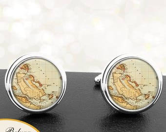 Map Cufflinks The Bahamas Handmade Cuff Links Antique Maps Groomsmen Wedding Party Fathers Dads Men
