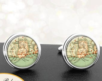 Antique Map Cufflinks Gold Coast Africa Cuff Links for Groomsmen Groom Fiance Anniversary Wedding Fathers Dads Men