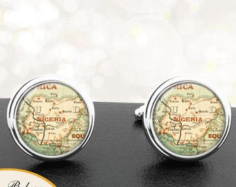 Antique Map Cufflinks Country of Nigeria Africa Cuff Links for Groomsmen Groom Fiance Anniversary Wedding Fathers Dads Men