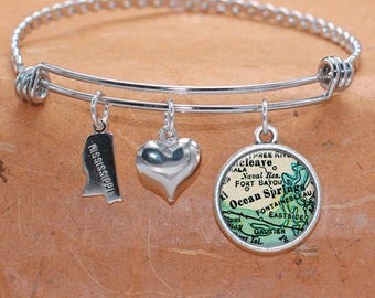 Ocean Springs MS Map Charm Bracelet State of Mississippi Bangle Cuff Bracelet Vintage Map Jewelry Stainless Steel Bracelet Gifts For Her