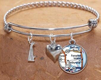 Fenwick Island Selbyville Delaware Map Charm Bracelet State of DE Bangle Cuff Bracelet Vintage Map Jewelry Stainless Steel Bracelet