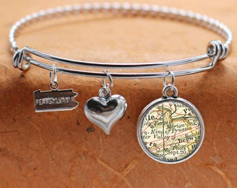 King of Prussia PA Map Charm Bracelet State of Pennsylvania Bangle Cuff Bracelet Vintage Map Jewelry Stainless Steel Bracelet