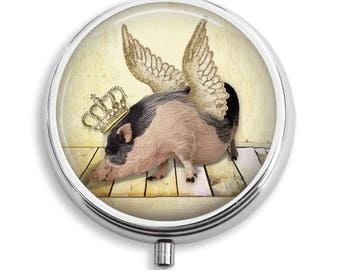 Pill Box Pill Case When Pigs Fly With Crown and Wings Pill Holder Pill Container Trinket Box Vitamin Holder Medicine Box