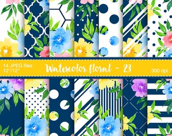 Watercolor floral digital paper, Planner stickers resources, Digital pattern, Summer floral, Scrapbooking paper, Blue, yellow, pink flowers