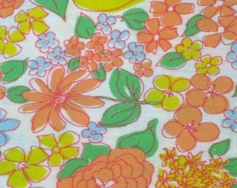 "Vintage Fabric - Bright Yellow, Orange & Blue Floral - 44""W - Primstyle - fabric by the yard - material - textile - sewing supply - Retro"