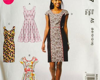McCall's M6887, Size 6-8-10-12-14, Misses' Dresses Pattern, UNCUT, Lined Dress, Over Dress, Easy, Wedding, Party Dress, Sundress