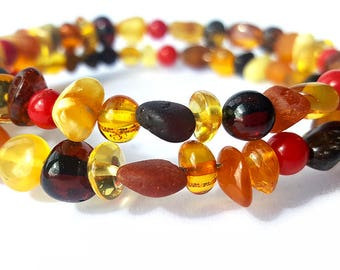 Baltic Amber Teething Bracelet with Red Corals