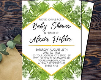Tropical baby shower invitation, tropical invitation, DIGITAL INVITATION, PRINTABLE palm print, palm trees, green, white, gold, pink