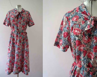 80s does 50s Pink Blue Rose Floral Day Dress Tea Dress Small
