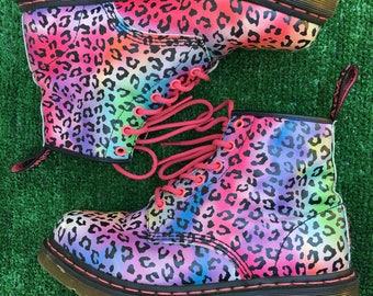 Pastel Rainbow Leopard Print Doc Martens Size 9 US 7 UK EU 41 Womens Doc Marten Combat Boots Lisa Frank 90s