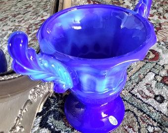 Fenton Glass Vase Periwinkle Blue Slag Winged Trophy Urn Shaped Original Sticker