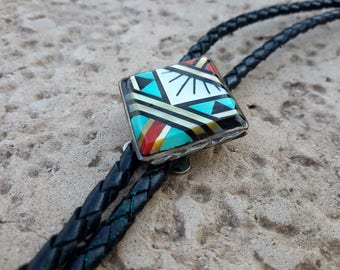 """Zuni Bolo Tie Sterling Silver Inlaid Turquoise Jet Coral Diamond Shape 19"""" Hang Length Southwest Attire"""