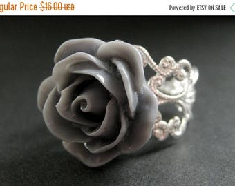 SUMMER SALE Gray Rose Ring. Grey Flower Ring. Filigree Adjustable Ring. Flower Jewelry. Handmade Jewelry.
