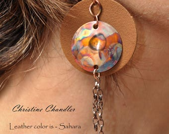 leather and copper earrings - leather earrings - with flame painted copper - copper earrings - leather jewelry - copper jewelry - leather