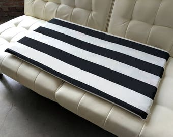 IKEA STUVA Bench Pad Slip Cover, Outdoor Black Beige Cabana Stripe, Ready to Ship