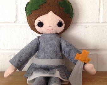 Catholic Saint Doll - St. Joan of Arc - wool felt blend