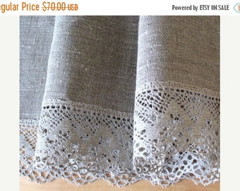 """Round Tablecloth Wedding Tablecloth Lace Tablecloth Christmas Gift Linen Tablecloth Burlap Tablecloth Washed Linen Lace  in diameter 59"""""""