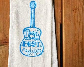 Flour Sack Tea Towel - Music Is The Best Medicine  - Hand Printed Original illustration - Guitar, Music, Ukulele