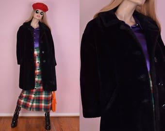60s 70s Black Faux Fur Coat/ Large/ 1960s/ 1970s/ Vintage/ Jacket