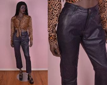 90s Dark Purple High Waisted Leather Pants/ US 8/ 1990s