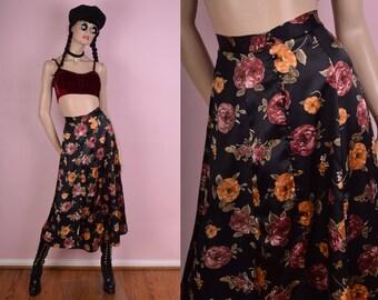90s Floral Butterfly Print Button Down Skirt/ 27.5 Waist/ 1990s