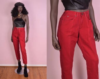 90s Red High Waisted Jeans/ US 4P/ 25 Waist/ 1990s