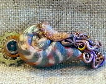 Silver Gear Steampunk Nautilus Tentacle Hair Clip