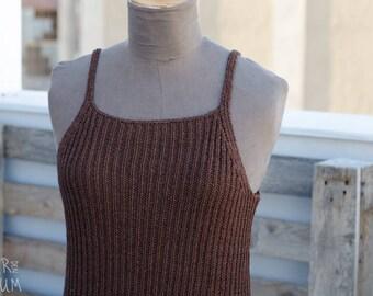 90's Knitted Brown Tank - Minimalist Brown Top - Lauren Vidal Brand