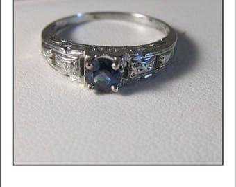 Vintage Deco 18k Ceylon Sapphire Engagement Ring