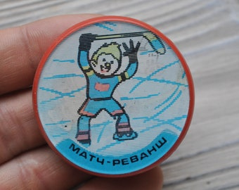 "Vintage Soviet Russian plastic stereo badge, pin.""Ice hockey""."