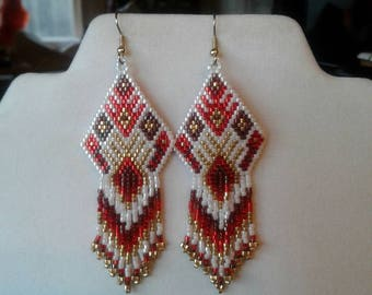 Native American Style Beaded Earrings White, Red, Burgundy and Gold Southwestern, Boho, Gypsy, Brick Stitch Peyote, Great Gift Ready to Ship