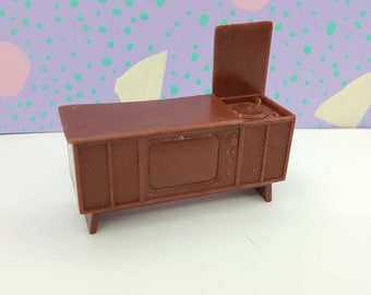 Marx Television Record player Stereo French Provencal   Toy Dollhouse Soft Plastic