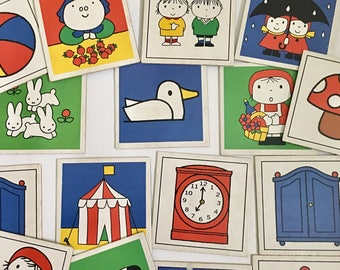 Vintage Miffy Dick Bruna 1980s Ravensburger Memory Matching Game, Missing Pieces, Incomplete, Paper Crafting, Retro Graphics
