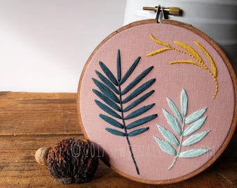 Botanical Hand Embroidery Hoop Art Wall Hanging 0
