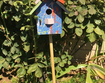 Birdhouse Blue Cottage Chic Whimsical Garden Yard Art Multicolor Jackson  Pollock One Of A Kind Original